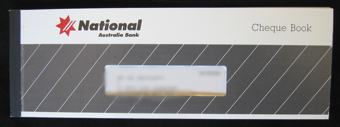 A photo of a cheque book