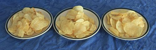 Photo of three bowls of potato chips