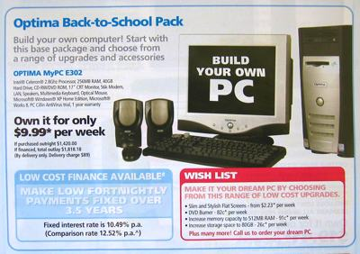 Photo of a pamphlet advertising a desktop computer deal which includes an option for low cost finance.