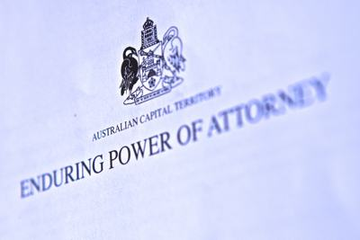 A very close up photo of a Enduring Power of Attorney document