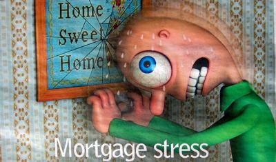 Cartoon showing a man looking quite crazy as he smashes his head against a picture on the wall of his house. His eyes are bulging and significant amounts of sweat pour from his brow. The picture reads 'home sweet home' and the cartoon is titled 'mortgage stress'.