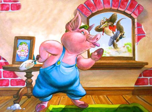 Cartoon of the third little pig inside his newly constructed brick house. We can see through the window that the big bad wolf is outside and is furious. The third little pig is blowing the wolf a raspberry.