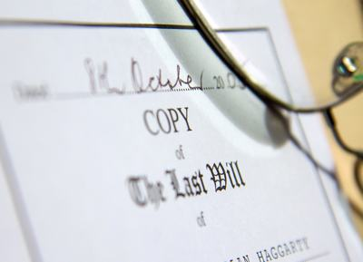 A close up of a will document