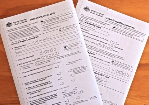 Photo of withholding declaration and upwards variation agreement forms
