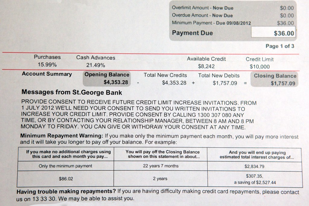 Photo of a St George credit card statement, showing the opening balance, closing balance, payment due and also a table titled Minimum Repayment Warning outlining what sort of interest would be payable when only minimum repayments are made.
