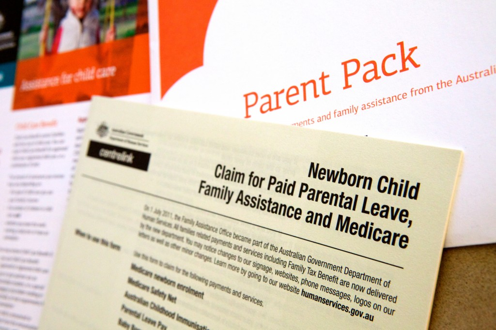 Photo of a claim form for Paid Parental Leave that comes with the parent pack on the birth of a baby.
