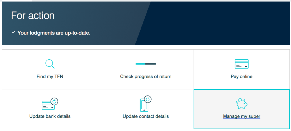 Screenshot from myGov account showing ATO account page and the superannuation button to press.
