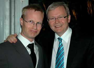 I am on the left, Prime Minister Kevin Rudd is on the right. He looks very happy to be having his photo taken with me. I look like I am completely over it.