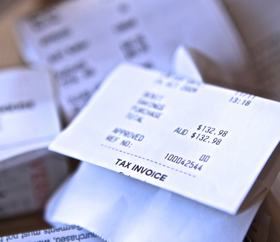 A close up photo of receipts