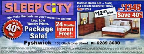 Photo of newspaper ad for a bed, bedside cabinets and a tall boy. The price is $1345 and there is an offer for 24 months interest free. It also has a figure showing $12.93 per week payments. There is substantial fine print underneath.