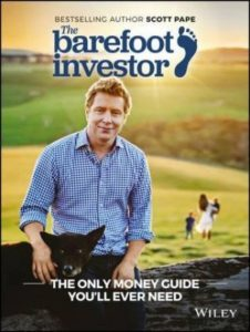 The front cover of The Barefoot Investor book.